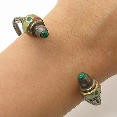 Mexico Vtg 925 Silver Real Malachite Gemstone Adjustable Cuff Bracelet 7""