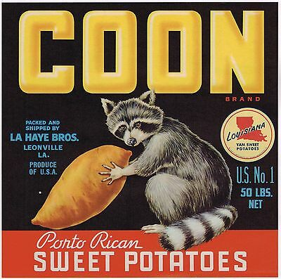 Genuine Yam Crate Label Coon Racoon Louisiana Leonville 1950S Advertising