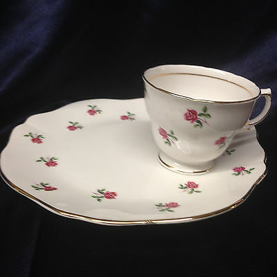 Colclough England 7433 Footed Cup & Snack Plate Pink Roses Gold Trim
