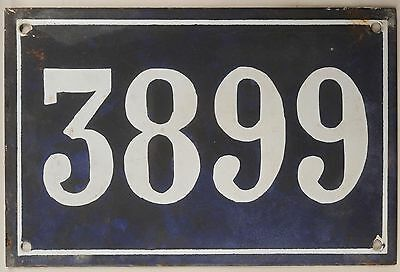 Large old blue French house number 3899 door gate wall plate enamel metal sign