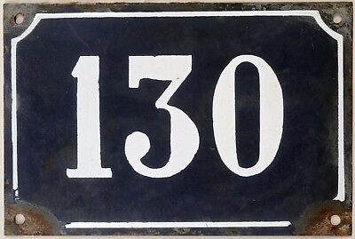 Large old blue French house number 130 door gate plate plaque enamel metal sign