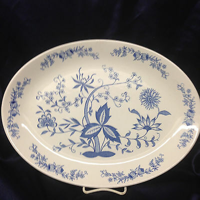 "Anfora Mexico Azulejo Oval Serving Platter 15"" Blue Flowers & Onions"