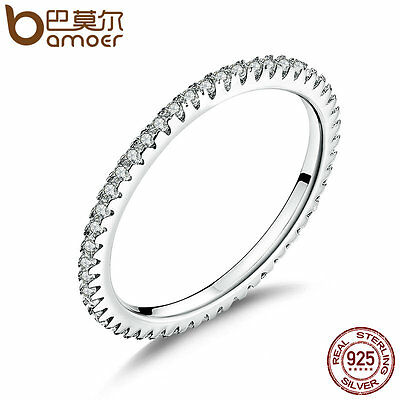 Bamoer .925 Sterling Silver Finger Fashionable Ring With CZ For women Jewelry