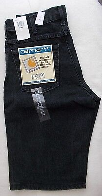 32 X 13 Denim Shorts Black Carhartt 5 Pocket Unisex Relaxed Fit NWT