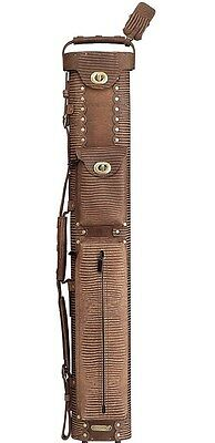 New InStroke Lizard Print 2x4 Brown Leather Pool Cue Case - Holds 2+ Cues