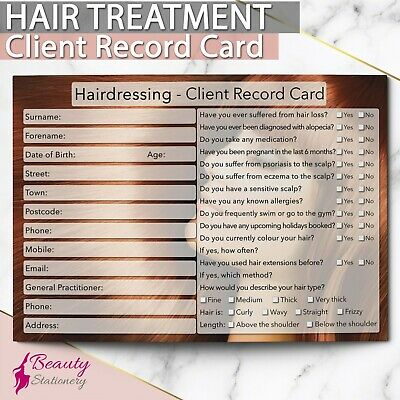 Hairdressing Hairdresser Client Record Card NEW - PREMIUM Treatment Cons. A6
