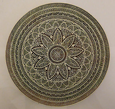 Round Mandala Shaped 29.4cm Indian Hand Carved Wooden Printing Block (RD82)
