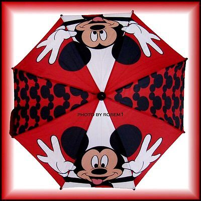 """New Disney Red Black White MICKEY MOUSE UMBRELLA with Adorable Handle 28"""""""