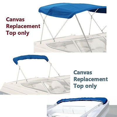 "Bimini Top Boat Cover Canvas Fabric Blue W/boot Fits 3 Bow 72""l 54""h 73""-78""w"