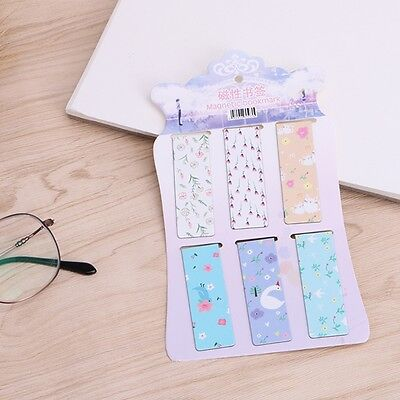 6Pcs/lot Flower Magnetic Paper Bookmarks Note Memo Stationery Bookworm Book Mark