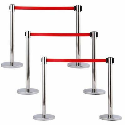 6pcs Thick Steel Chrome Retractable Red Belt Stanchions Posts Queue Pole Crowd