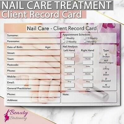 Nail Care Client Record Card NEW - PREMIUM Treatment Consultation A6