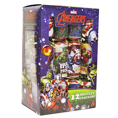 Avengers 12 Pack Children's Character Novelty Birthday / Christmas Crackers