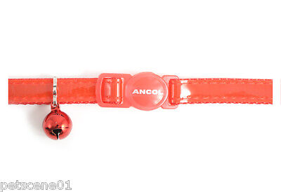 Ancol Red Shiny Gloss Reflective Cat Collar with Bell