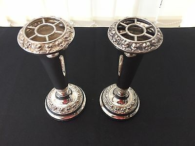 pair of lanthe england silver plated vases