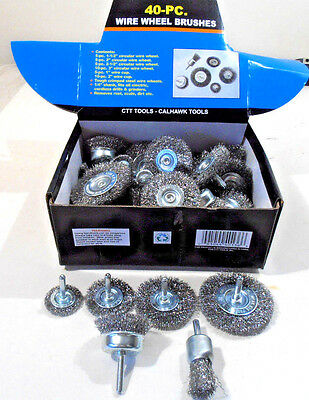 40 Pc. Wire Wheels And Cup Brushes For Drills