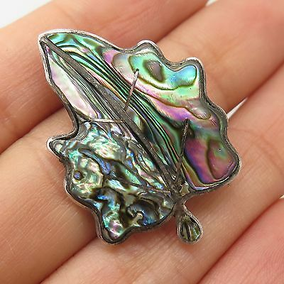 Vtg Mexico 925 Sterling Silver Real Abalone Shell Leaf Pin Brooch