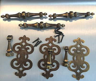 Set of 3 antique vintage brass door pulls with plates and drawer handles 1960's