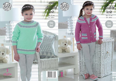 Easy Knit Double Knitting Pattern King Cole Girls Striped Jumper & Cardigan 4952