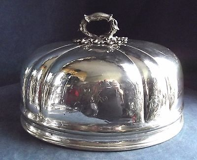 "GOOD Large 14"" ORNATE ~ Sheffield SILVER Plate ~ Platter / Food COVER ~ c1825"