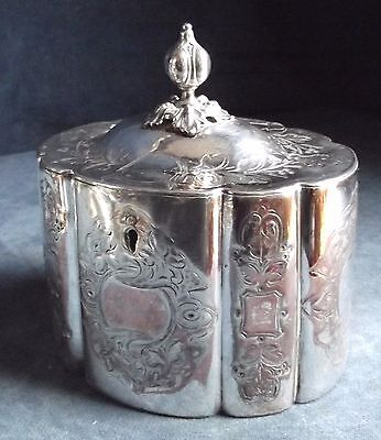 GOOD Early ~ SILVER Plated ~ENGRAVED Tea CADDY ~ c1850 by Philip Ashberry