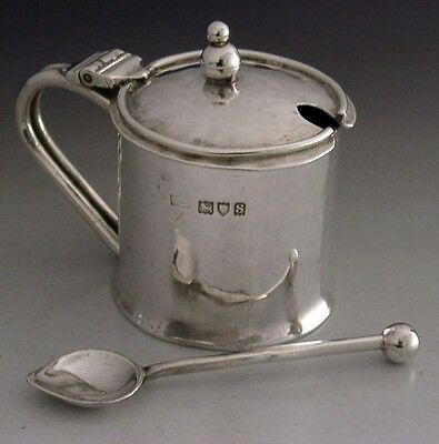 Arts & Crafts Sterling Silver Albert E Bonner Mustard Pot And Spoon 1913 Rare