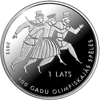2012 Latvia Silver Proof 1 Lats Coin, 100 Years in the Olympic Games