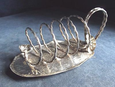 SUPERB Large ~ SILVER Plated ~ AESTHETIC Foliage~ TOAST / Letter RACK ~ c1890