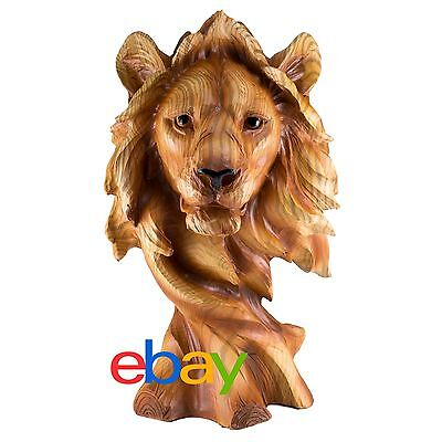 Lion Head Bust Carved Wood Look Figurine Resin 11.5 Inch High New In Box!