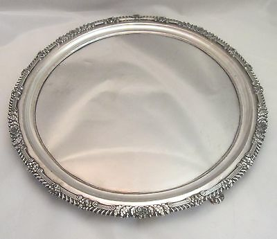A Very Large Fine Round Old Sheffield Plate Tray c1790 - Inlaid Silver cartouche