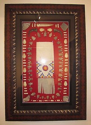 Framed Artifacts display arrowheads points beads, pottery, Hand Beaded Pouch