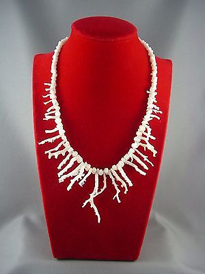 LONG FRINGY Vintage Genuine Natural White Branch Coral Necklace