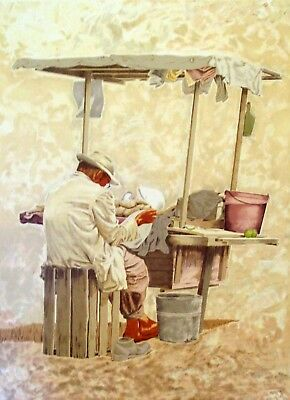"""Vic Herman """"the Many Faces Of Mexico"""" """"storekeeper From Guadalajara"""" Lithograph"""