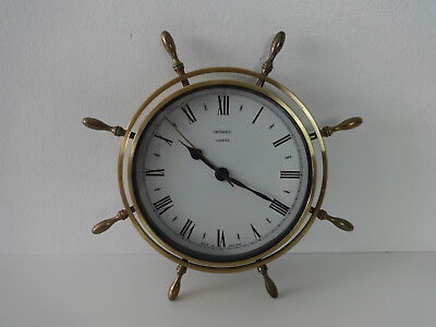 "Metamec Clock Vintage Ships Wheel Helm Nautical Theme Brass Wall Clock 10"" Round"
