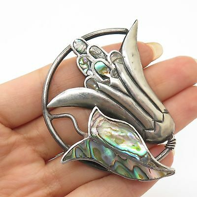 Vtg Mexico 925 Sterling Silver Abalone Shell Floral Leaf Pin Brooch