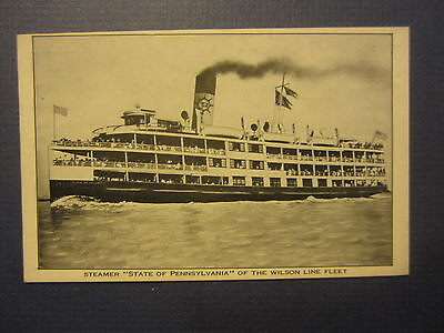 Old Vintage Steamer STATE of PENNSYLVANIA - Steamship POSTCARD - Delaware River