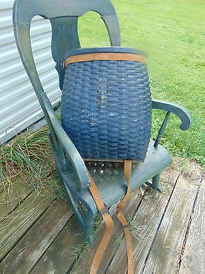 Vtg Blue Adirondack Hunter Fisher Gatherer LL Bean Wood Basket Creel Backpack