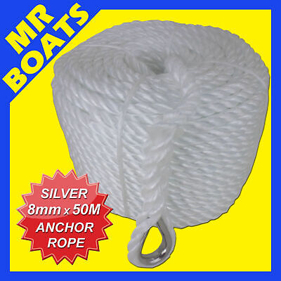 SILVER ANCHOR ROPE ✱ 8mm X 50M ✱ 650KG Break UV RESISTANT BOAT MARINE FREE POST
