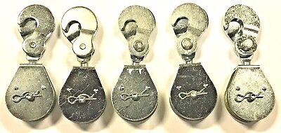 """2"""" Rope Pulley Single Sheave Double Hooks 5 Pieces"""