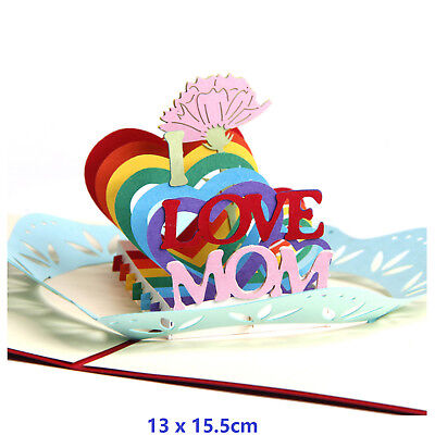 I Love Mom 3D Pop Up Greeting Cards Children Mother Day Birthday With Envelope