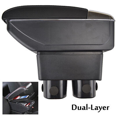 Dual Layer Leather Armrest For Nissan VERSA TIIDA LATIO 07-11 Center Console Box