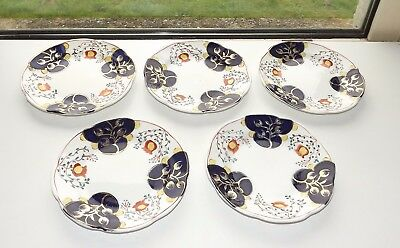 Victorian Gaudy Welsh Tulip Pattern Blairs China 5 x Side Plates 15cm  c1900