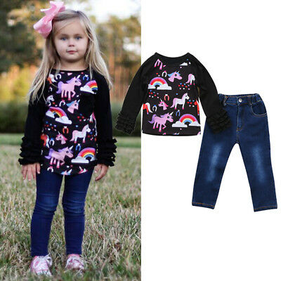 UK Stock 2PCS Toddler Girls Kids Unicorn Tops Denim Pants Jeans Outfits Clothes