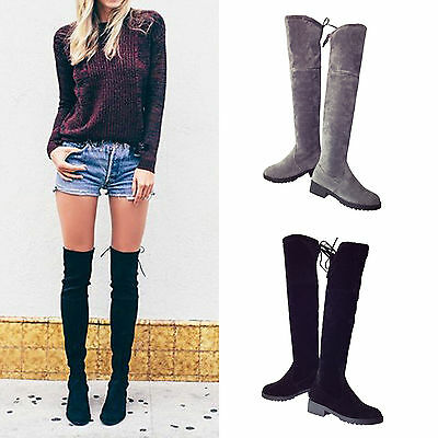 Ladies Over knee High Thigh Lace Up Stretch Flat Women's Knight Long Boots Shoes