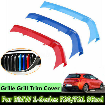 3X Tricolor Plastic Front Grille Cover Trim For BMW 1Series F20/F21 9Rod 15-16