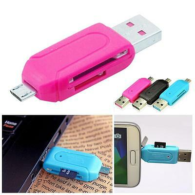 2 in 1 USB 2.0 + Memory Card Reader For SD T-Flash Card Micro USB OTG Adapter PE