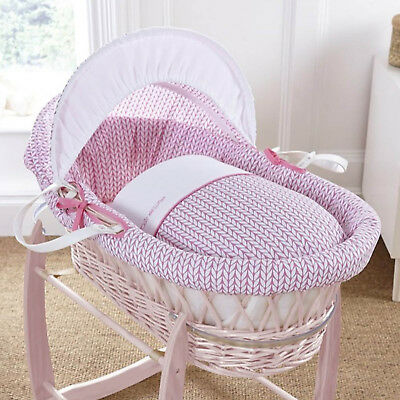 Clair De Lune Pink Barley Bebe Pink Wicker Padded Baby Moses Basket & Mattress