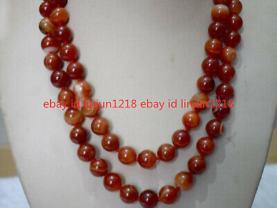 Natural 8mm Red Striped Agate Onyx Gemstone Beads Necklace 36'' AAA
