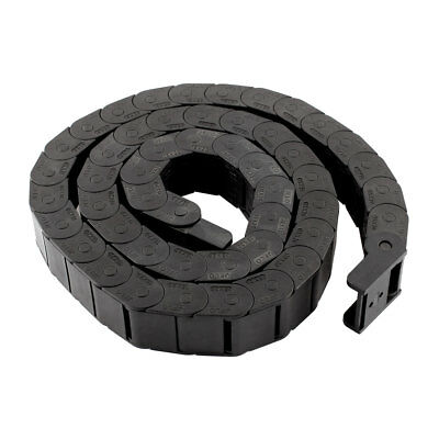 R20 20mm x 15mm Black Plastic Cable Drag Chain Wire Carrier 105cm Length