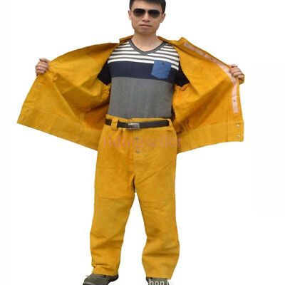 Yellow Flame-Resistant Leather Welders SET Welding Jackets Pants Work Clothing N